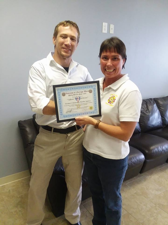 Certificate of Appreciation given to Andrew Keehn from Senior Vice Commander Angie Gray